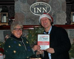 Stonewaters Inn on the River is the 2016 Winner of the Best Business Lighted Display