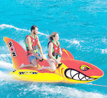 The most Fintastic Towable by WOW! The hungry Big Shark Towable is a 2 rider in-line float, a classic style that has been a rider's favorite for decades. The Big Shark gives 1 to 2 riders a simple way to sit and ride while utilizing custom shaped, large pontoon fins for fun, stable, and secure riding. HI-VI colors and mean graphics will make sure that you are seen on the water, no sneak attack here! Large EVA foam handles allow riders to hang on for when the Big Shark is in pursuit! Make Shark Week last all summer long with WOW's Big Shark.