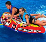 Deck tubes still remain the best towables ever.  You may get tired from holding on but the excitement of the ride is THRILLING.  The Big Thriller can be used by 1 or 2 riders.  See how much wild wake action you can handle and when you are finished relax using the tube as a floating island or just floating down the river.  Features include TUFF SHELL Full Nylon Cover with Zipper, Heavy-Gauge PVC bladder, Double webbing foam handles with knuckle guards, EVA foam pad, Reinforced towing system, Speed valve for fast inflation and deflation, Zippered valve cover, 1or 2 Riders,