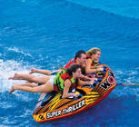 Deck tubes still remain the best towables ever. You may get tired from holding on but the excitement of the ride is THRILLING. The Super Thriller can be used by 1, 2 or 3 riders. See how much wild wake action you can handle and when you are finished relax using the tube as a floating island or just floating down the river.  Features include TUFF SHELL Full Nylon Cover with Zipper, Heavy-Gauge PVC bladder, Double webbing foam handles with knuckle guards, EVA foam pad, Reinforced towing system, Speed valve for fast inflation and deflation, Zippered valve cover