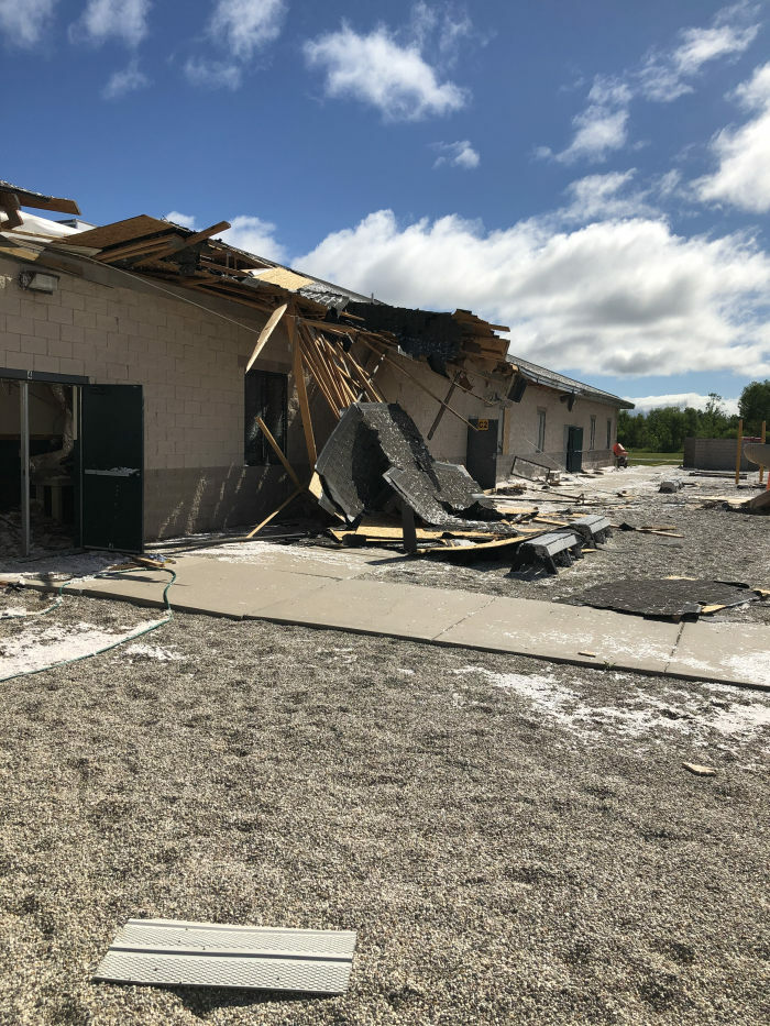 Storm Damage to Bishop Baraga School 7-19-20
