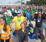 Diocese of Gaylord pilgrims practicing their moves for the flash mob on the Copacabana Beach.