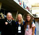 Bishop Hebda with Chrissy Smith and Katie LeBlanc outside VivoRio - where catechesis was held for over 3,000 English-speaking pilgrims.