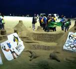 Many works of sand art lined the Copacabana Beach, welcome pilgrims to Rio!