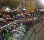 A view of pilgrims camped out, awaiting the Closing Mass to be celebrated by Pope Francis.