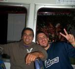 Lalo Pedraza and Ross Bradley  while on the train to see the Christ the Redeemer statue.