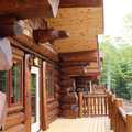 large front deck of the Aqua Log cabin