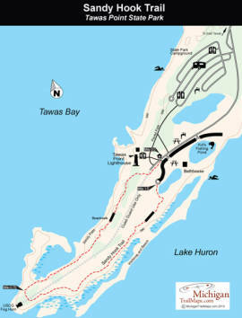 Tawas Point State Park Sandy Hook Trail Michigan Trail Maps