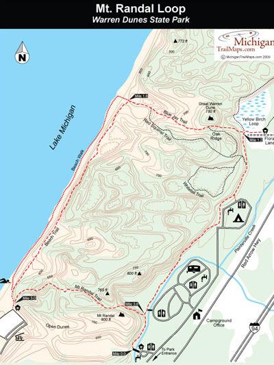 warren dunes state park mt randal loop michigan trail maps. Black Bedroom Furniture Sets. Home Design Ideas