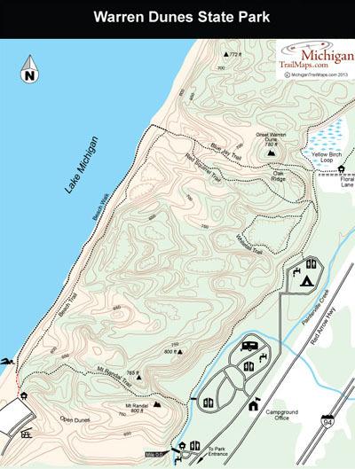 warren dunes state park michigan trail maps. Black Bedroom Furniture Sets. Home Design Ideas