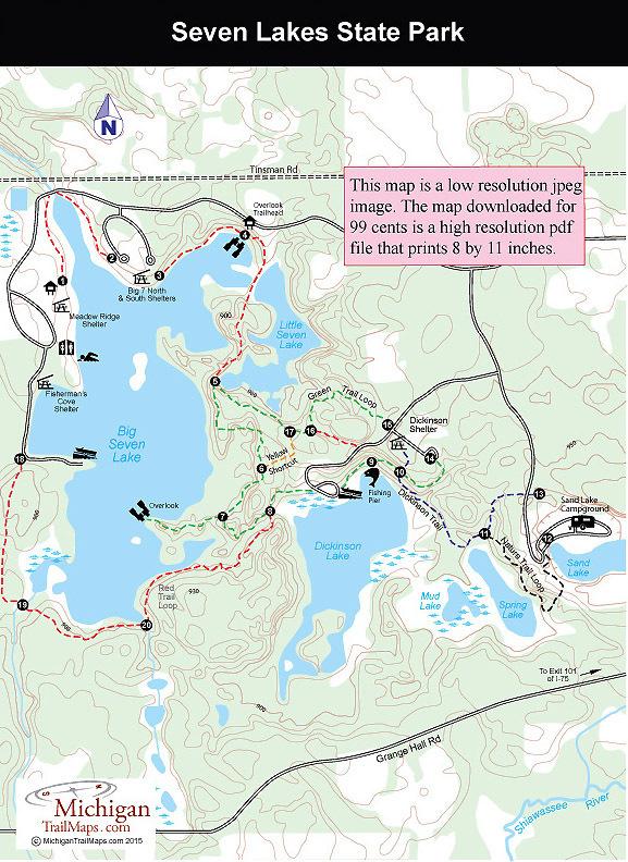 Seven Lakes State Park  Michigan Trail Maps
