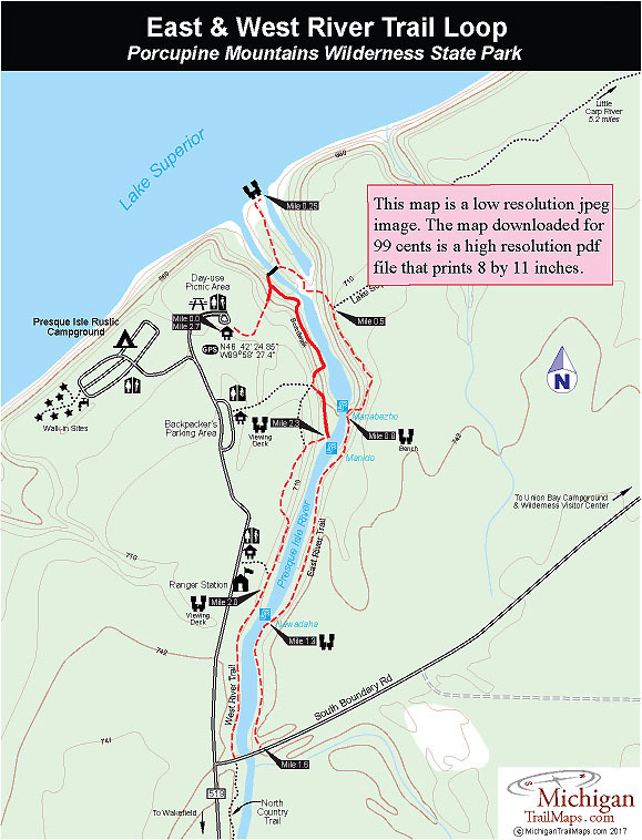 Porcupine Mountains Wilderness State Park Trail Map ~ Porcupine ...
