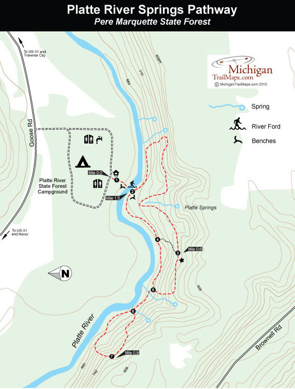 Platte River Springs Pathway Michigan Trail Maps - Platte river on us map