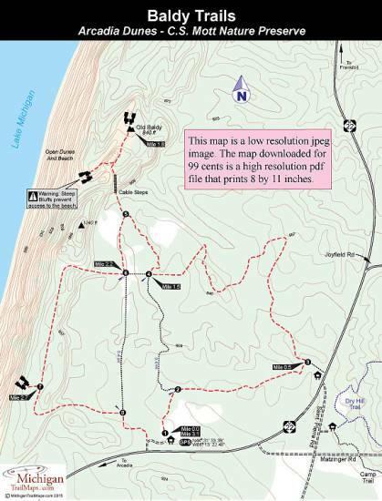 Arcadia Dunes Baldy Trails Michigan Trail Maps