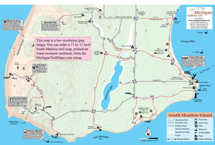 North Manitou Island Trail Map