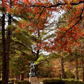 Lumberman's Monument in the fall.