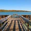 The Cedar Lake fishing pier at DeYoung Natural Area.