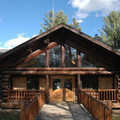 Pigeon River Country Headquarters is a classic log lodge.
