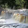 The impressive Manabezho Falls on the Presque Isle River.
