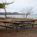 The picnic area and beach at Good Harbor Bay.