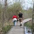 Hiking a boardwalk trail at Crosswinds Marsh.