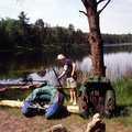 An angler getting his float tube ready at Byron Lake.