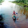 Canoers paddling into Halfmoon Lake.
