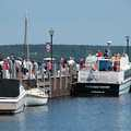 Passengers board a Pictured Rocks boat cruise in Munising.