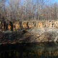 Pondside cliffs at Lincoln Brick County Park.