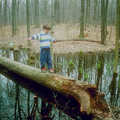 A young hiker crosses a log along the White/Blue Loop.