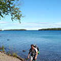 A backpacker on the Rock Harbor Trail at Isle Royale.