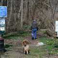 A hiker and his dog at the South Entrance trailhead.