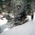 A Nordic skier pauses at Pigeon River.