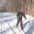 A cross-country skier enjoying the trails at Aspen Park.