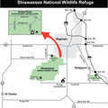 Shiawassee National Wildlife Refuge locator map.