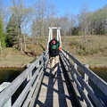 Crossing the swing bridge over the Manistee River.