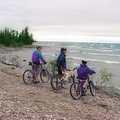Mountain bikers pause along Lake Huron at Thompson's Harbor