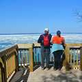 Hikers enjoy the view of Lake Michigan from the Clay Cliffs.