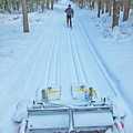 Following the groomer at Corsair Trails.