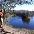 A hiker on the Manistee River Trail.