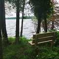 A bench overlooking Little Traverse Lake.