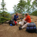 Backpackers enjoying lunch on Mount Franklin.