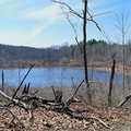 A hiker pauses near Shoe Lake.