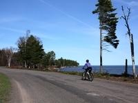 miles of desolute roads hugging Lake Superior shoreline