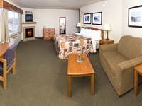 Relax in a suite with a whirlpool and fireplace!