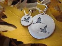 Elegant Crane Sterling Silver Pendants