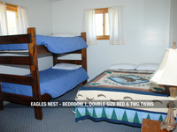 Eagles Next - Bedroom 1, One Double Bed & Two Twins