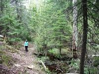 hiking the Rumpelstiltskin trail on Mount  Bohemia property