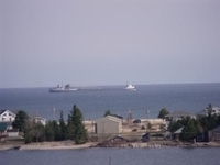 view of frieghter from motel on Lake Superior