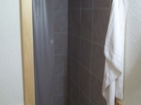 Tile shower in cabin